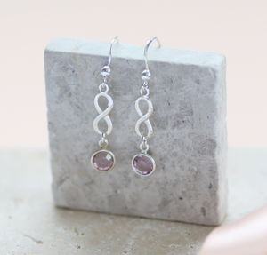 Sterling Silver Infinity Birthstone Earrings - earrings