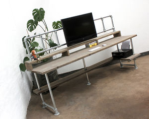 Ethan Scaffolding Board Desk With Monitor Mount Rails