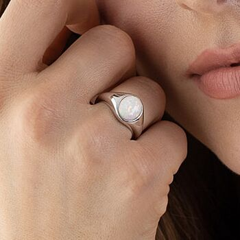 Sterling Silver Opal Signet Ring