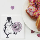 Donut Penguin Ceramic Coaster