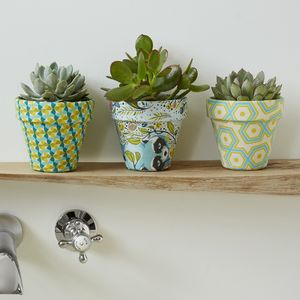 Spring Print Fabric Covered Planter