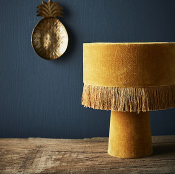 Mustard Velvet Fringed Table Lamp
