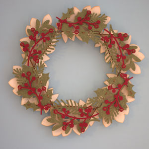 Holly And Leaf Christmas Wreath - christmas decorations