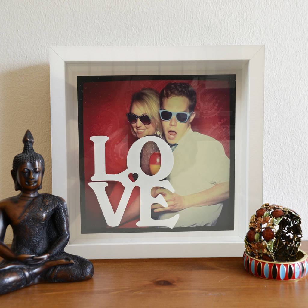 personalised photo and stencil message 3d box frame by instajunction ...