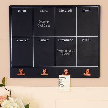 French Days Of The Week Chalkboard With Copper Clips