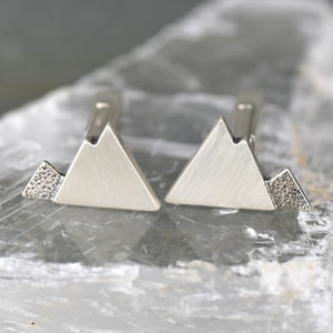 Handmade Sterling Silver Mountain Cufflinks - wedding styling