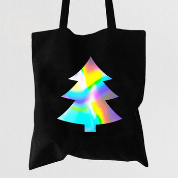 Minimalist Christmas Tree Tote Bag Chrome Spectrum