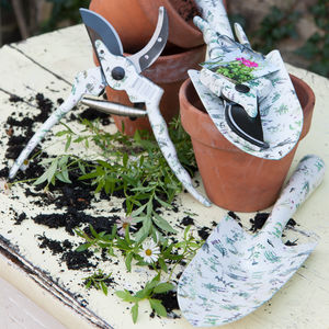 Botanical Herb Pattern Trowel And Secateurs Set - gifts for mothers