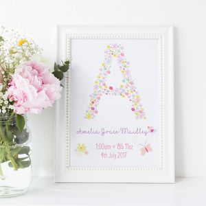 Personalised Floral Alphabet New Baby Print For Nursery - baby's room