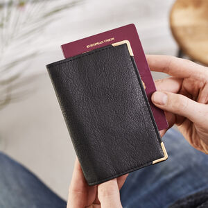 Leather Passport Cover Metal Corners