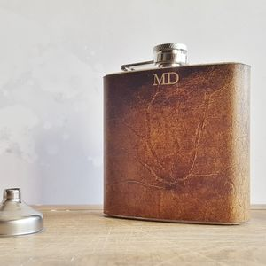 Personalised Leather Hip Flask With Initials