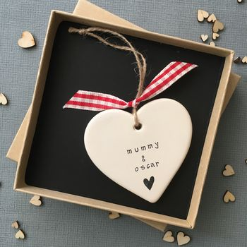 Personalised 'Mummy And' Ceramic Hanging Heart