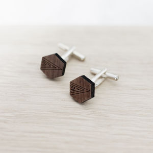 Wooden Hexagon Cufflinks