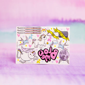 Unicorn Pick N Mix Temporary Tattoos