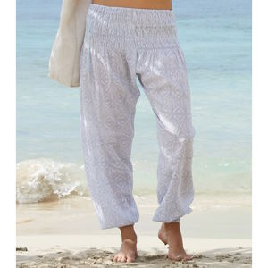 Grey And White Ikat Cotton Harem Trousers