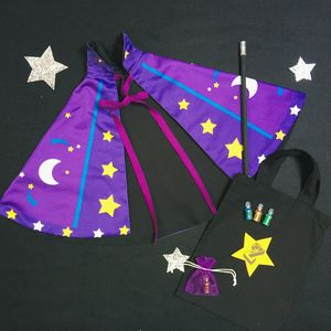 Personalised Magician Wizard Cape And Wand Set