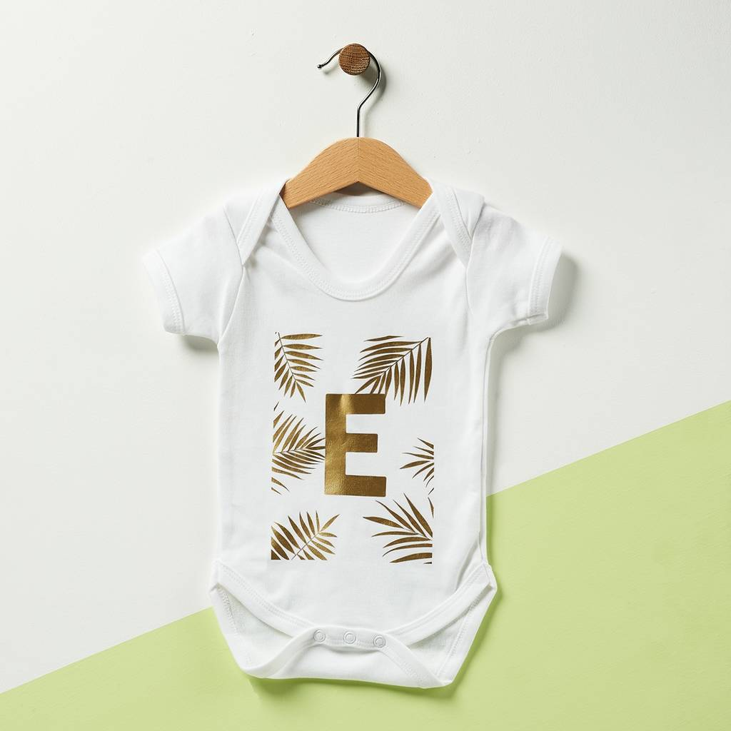 Personalised Palm Initial Babygrow