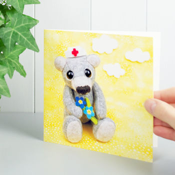 Get Well Soon Teddy Bear Greeting Card