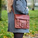 Personalised Vintage Style Brown Leather Satchel