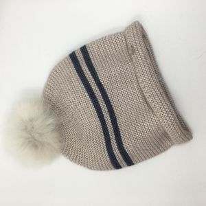 Naval Stripe Preppy Hat With Detachable Pom Pom - hats