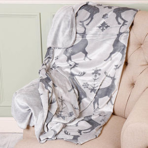 Luxury Winter Grey Christmas Reindeer Throw