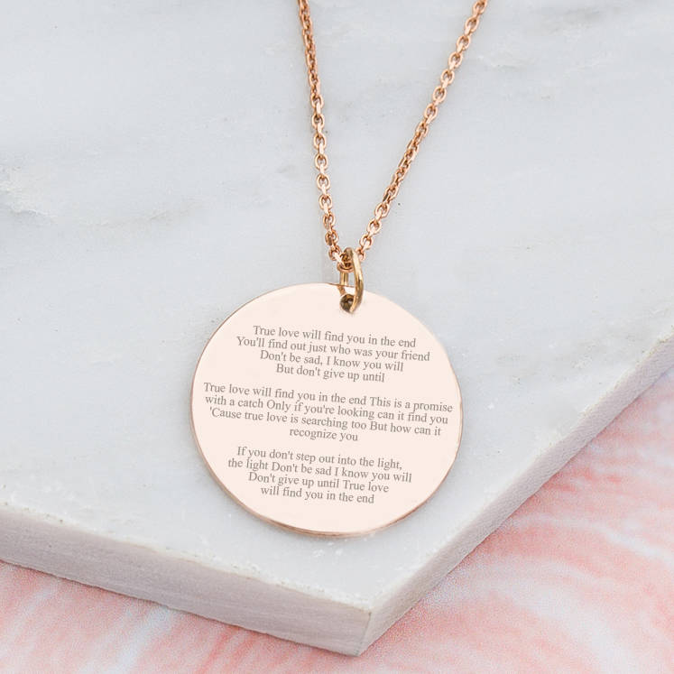 12dec686f90f0 Personalised Favourite Song Lyric Disc Necklace
