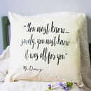 Mr Darcy Quote Cushion