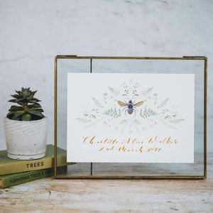 Personalised Watercolour Gold Bee Christening Gift - nature & landscape