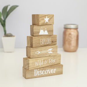 'Wild And Free' Oak Building Blocks - baby & child sale
