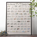 The Bicycle Family Tree Bike Poster Wall Art Unframed