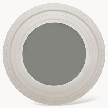 Wilton White Round Mirror