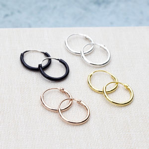 Tiny Hoops In Gold, Rose Gold, Silver Or Black - contemporary jewellery