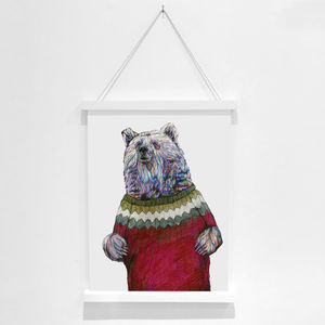 Brian The Bear Pencil Illustration Fine Art Print