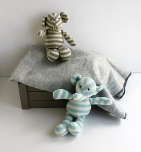 Knitted Stripe Elephant Toy Comforter