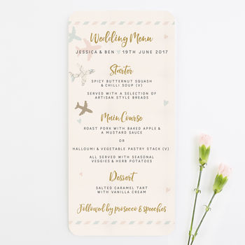 Pastel Plane And Suitcases Wedding Menu