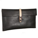 Elegant Black/Marfil Leather Clutch