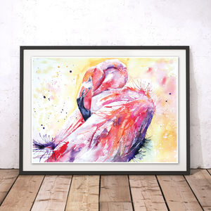 London Pink Flamingo Watercolour Fine Art Print - animals & wildlife
