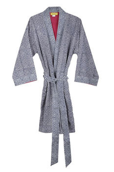Magadi Ikat Design, Fully Lined Bathrobe Blue
