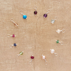 Semi Precious Birthstone Charms On Silver