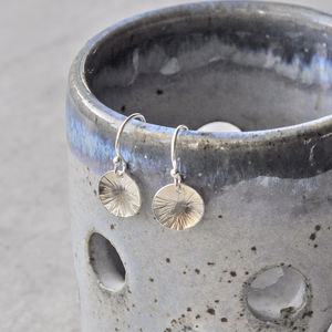 Silver Circle Hammered Drop Earrings - earrings