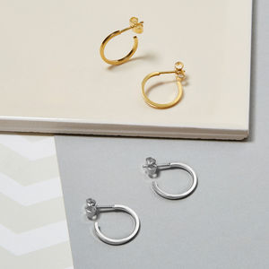 Sterling Silver Mini Hoop Earrings - earrings