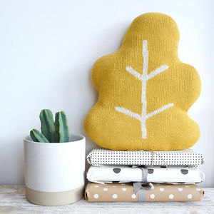 Fair Trade Alpaca Knitted Leaf Cushion - summer sale