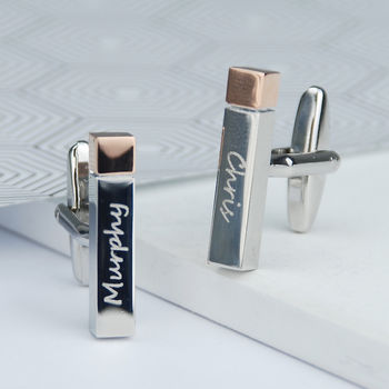 Personalised Polished Name Bar Cufflinks