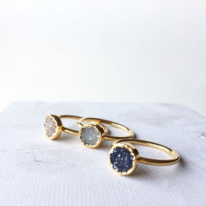 Mini Circle Stacking Drusy Crystal Ring