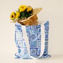 Portugal Tiles Blue And White Canvas Shopping Bag