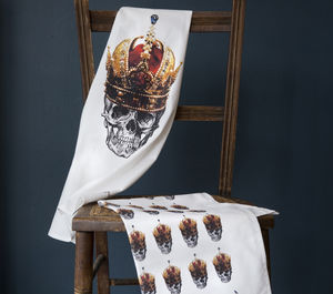 Skull In Red Crown Tea Towel