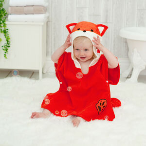 Personalised Freddie Fox Cub Children Poncho Towel