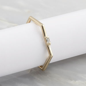 Baguette Hexi Stacker Ring - gold