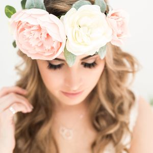 Pastel Peony Floral Crown - bridal hairpieces