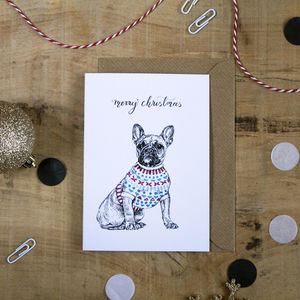 French Bulldog In A Jumper Christmas Card - new in christmas